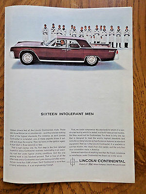 1963 Lincoln Continental Sedan Ad  Sixteen Intolerant Men