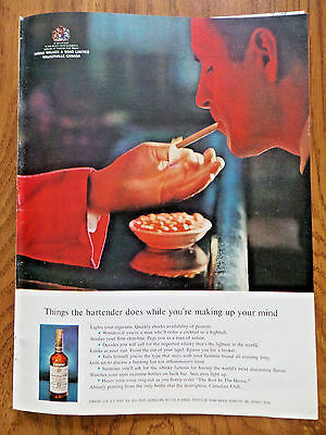 1962 Canadian Club Whiskey Ad Things the Bartender does While you Make up Mind