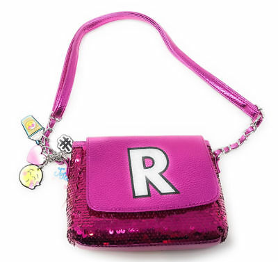 "Justice for Girls Pink heart charm Sequin Sparkle Initial ""R"" Purse NWT!"
