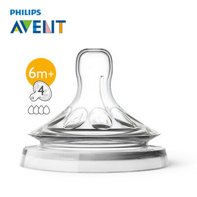 AVENT 2Pcs 4Holes BPA Free Fast Flow Nipple Baby Pacifier Clip Teat For 6 Month+