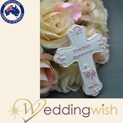 Pink First Holy Communion Charm, Resin Good Luck Cross