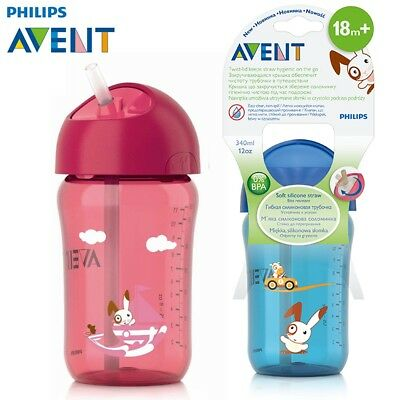 AVENT 340ml/12oz Cartoon Baby Straw Cup Water Drinking BPA Free Bottle for 18 m+