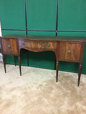 Vintage Bow Fronted Sideboard With Brass Lions Head Handles