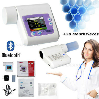 Bluetooth Digital Hand-held Spirometer, Lung Volume, Free Software+MOUTH PIECE