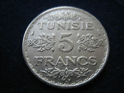 "Mds Tunesien 5 Francs 1934  Ah 1353 ""ahmed Pasha"", Silber"