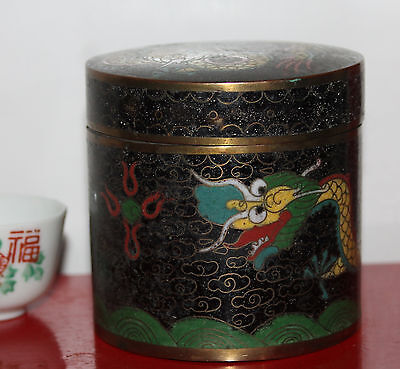 A Rare C18th/C19th Chinese Dragon Chasing Flaming Pearl Cloisonne Box with lid