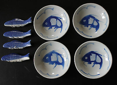 100% Hand Painted Chinese Blue and White Koi carp Fish 4 Dishes and 4 Rests