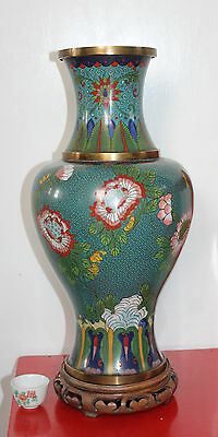 """A Giant 15.4"""" C19th Excellent Chinese Cloisonne Vase on wooden stand"""