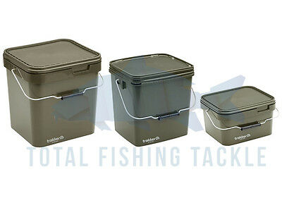 Trakker NEW Carp Fishing 5, 13 & 17 Litre Green Square Bait Bucket  - 216106