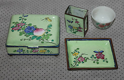 A Set of 3 Late C19th Superb Chinese Enamel blossoms and butterfly on copper