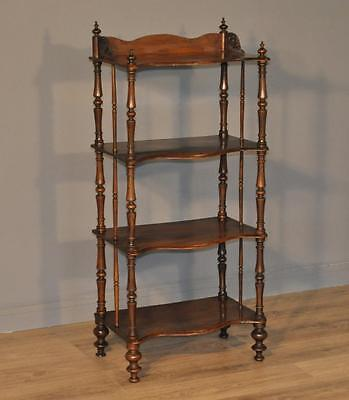 Attractive Small Antique Victorian Walnut Whatnot Open Floor Bookcase Shelves