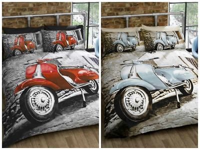 Scooter Vespa Classic Italian Style Bedding Duvet Cover Boys Teenager Room