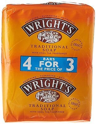 4 X Wrights Traditional Soap 125G With Coal Tar Fragrance