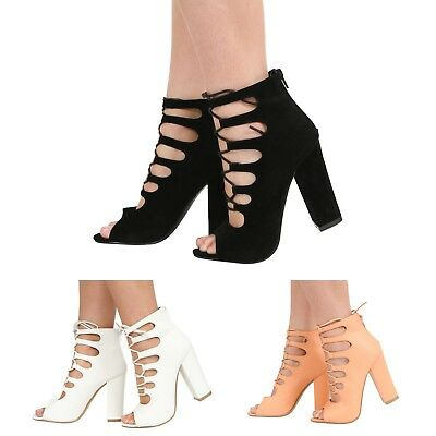 Womens Ladies High Heel Peeptoe Cutout Lace Up Strappy Sandal Shoes Size 3-8