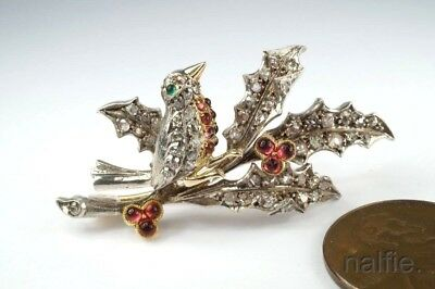 ANTIQUE ENGLISH 15K GOLD SILVER DIAMOND RUBY HOLLY & ROBIN BROOCH c1890