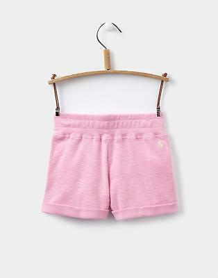 Joules Girls Kittiwake Jersey Shorts in Machine Washable Cotton in Pale Pink