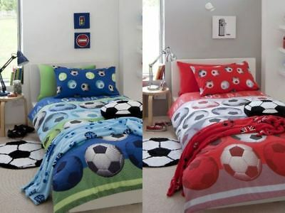 Catherine Lansfield Football Kid's Boys Blue Red Duvet Quilt Set Bedding