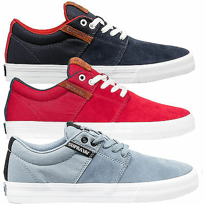 Supra Mens Stacks Vulc II Lace Up Active Gym Lo Top Navy Blue Red Trainer