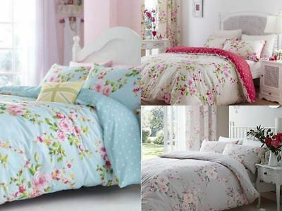 Canterbury Red Grey Blue Shabby Chic Polka Dot Reverse Floral Bedding