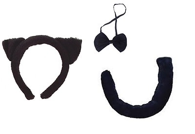 Cat Black Fancy Dress Ears Bow Tie And Tail Costume Accesory World Book Day Set