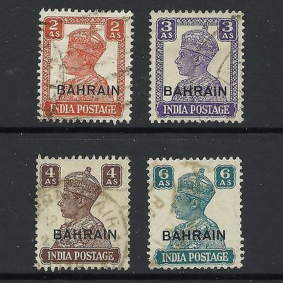 1942 King George VI SG44 SG45 SG47 SG48 Stamps of India Optd. Used BAHRAIN