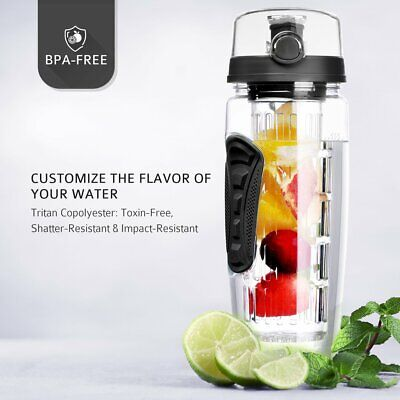 32oz Fruit Infuser Water Sport Bottle Infusing With Cleaning Brush Leak-Proof