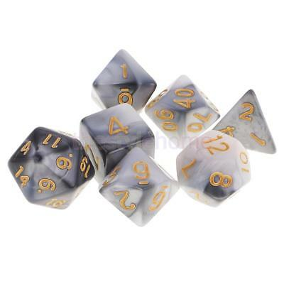 MagiDeal 7x Polyhedral Dice for D&D RPG MTG Party Game Toy Set Grey White