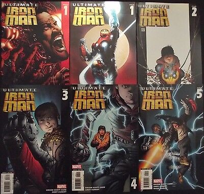 ULTIMATE IRON MAN 1A,1B,,2,3,4,5...NM-...2005-6...Andy Kubert...Bargain!