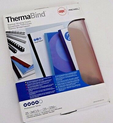 Box 25 Gbc Thermabind A4 1.5Mm Thermal Binding Clear Covers Red  Back