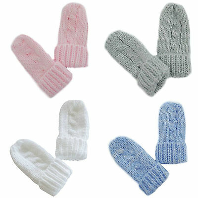"""Baby winter mittens cuffed cable Newborn-12 knit knitted BM04"