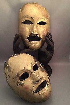 Two Rare Unique Antique Brass Handcrafted and Painted Kabuki Theater Masks