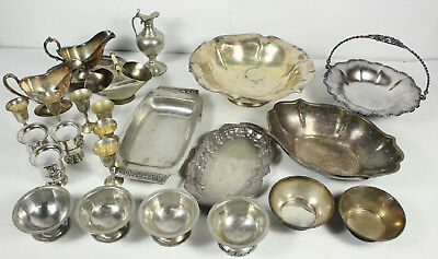 Vintage And Antique Mixed Silverplated Bowls Trays Pitchers Lot