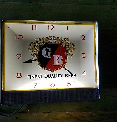 RARE Find Old St. Louis Brewery Griesedieck Bros Beer Lighted Sign Clock WORKS