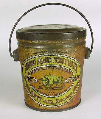 Peanut Butter Tin, Buffalo Brand 1lb Bail Handle Amesbury, MA Advertising