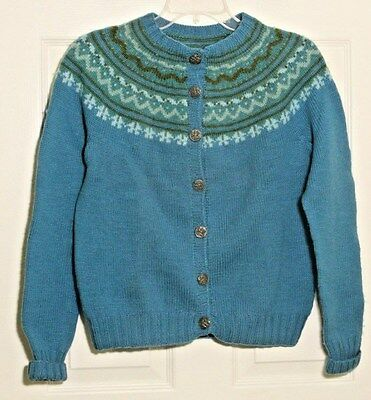 Vtg Nordic Womens Cardigan Sweater Crest Buttons No Size Slate Blue Olive Green