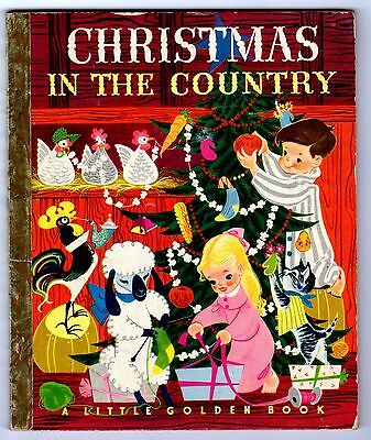 """CHRISTMAS IN THE COUNTRY ~ 1st """"A"""" ed. Little Golden Book #95, no writing"""