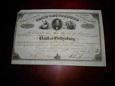 1863 Bank of Gettysburg Stock Issued Day Lincoln Arrived at Gettysburg Nov 18th