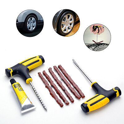 Car Tubeless Tyre Tire Puncture Repair Plug Kit Needle Patch Fix Tools Cement