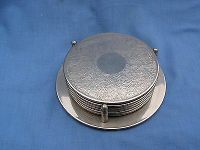 6 Vintage Silver Plate Coasters Glass Mats In Their Original Stand Bottle Holder
