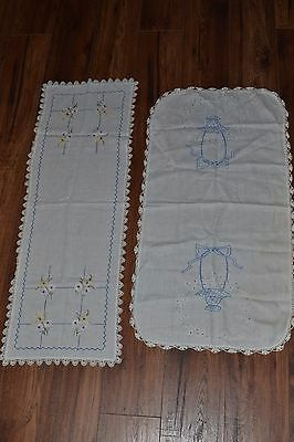 2 Vintage Hand Embroidered Table Runners Crocheted Edges Dresser Scarf