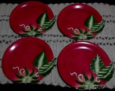 """FRITZ AND FLOYD LE MARCHE TOMATO PLATES Set of 4-- 9"""" in size"""