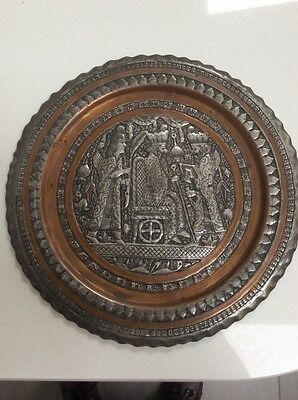 """Vintage Middle Eastern White Metal Charger Plate 11"""" Diameter"""