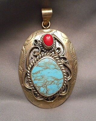 Southwest Mexican Oval Silvertone Pendant - Ornate Scrollwork Turquoise & Coral