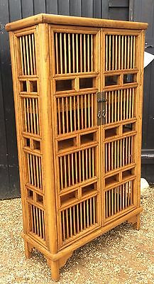 Oriental Bamboo Style Cupboard With Drawers & Shelves