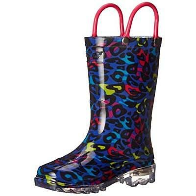 Western Chief 4130 Girls Groovy Leopard Light Up Pull ON Rain Boots Shoes BHFO