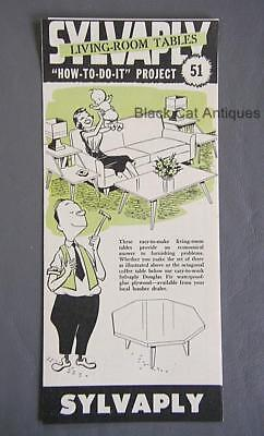 Orig Vintage Sylvaply Plywood How To Do It DIY Living Room Tables Brochure #51
