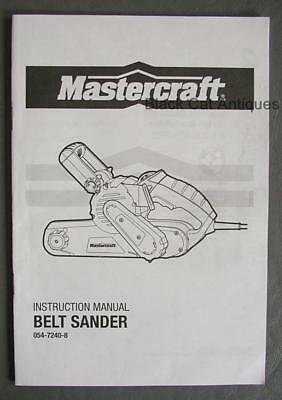 Orig Mastercraft Belt Sander Owner's Manual/Parts List Eng/Fr Model 054-7240-8