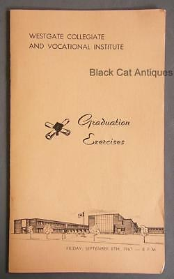 Orig 1967 Westgate High School Graduation Exercises Programme Fort Willam