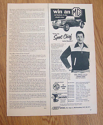 1954 Sport Chief Jacket Contest Ad Tony Curtis Movie Star MG Sportsw Car