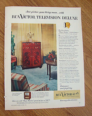 1952 RCA Victor TV Television Ad DeLuxe